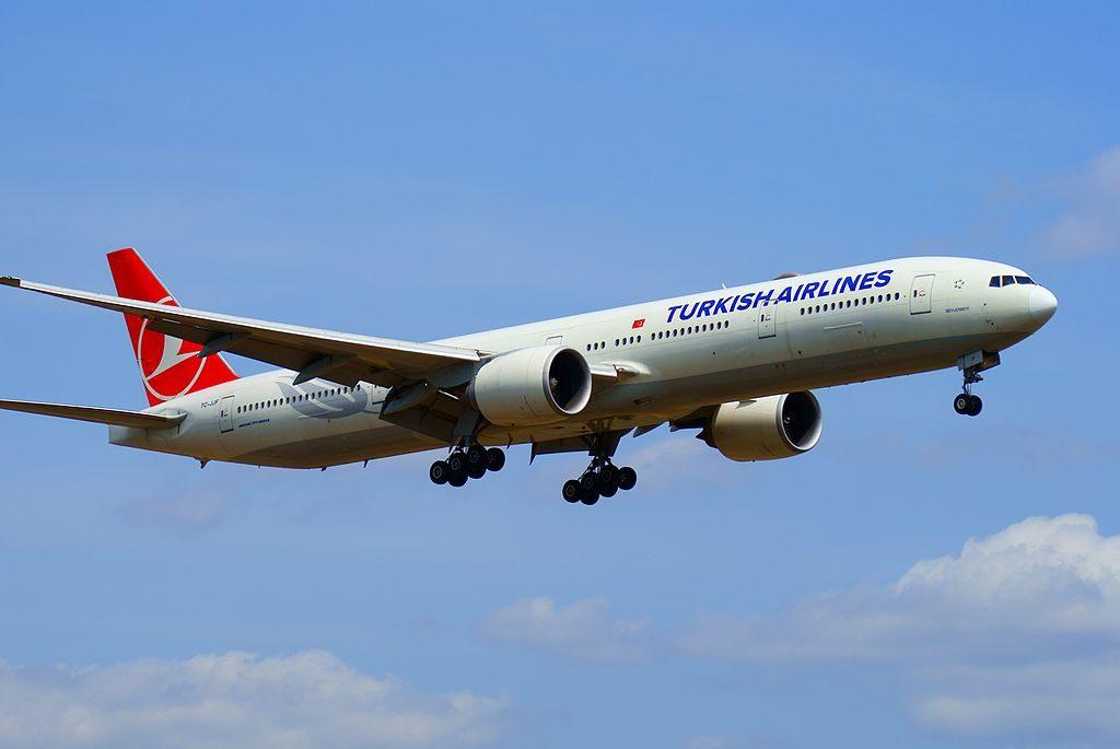 TC JJF Turkish Airlines Boeing 777 300ER Beylerbeyi landing at Tokyo Narita Airport