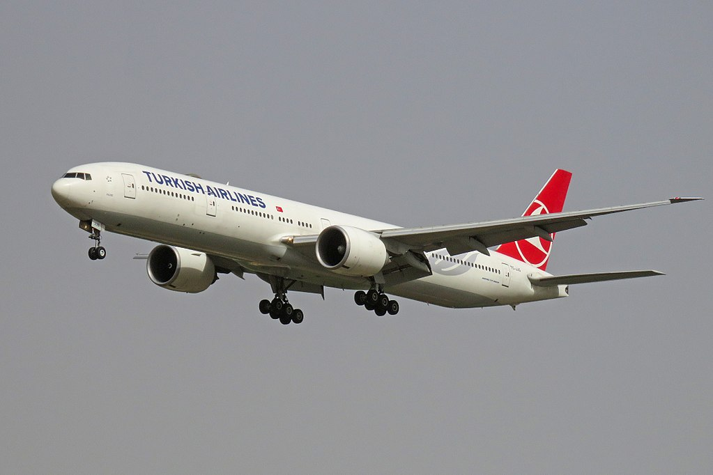 TC JJG Boeing 777 300ER Yıldız of Turkish Airlines at Beijing Capital International Airport