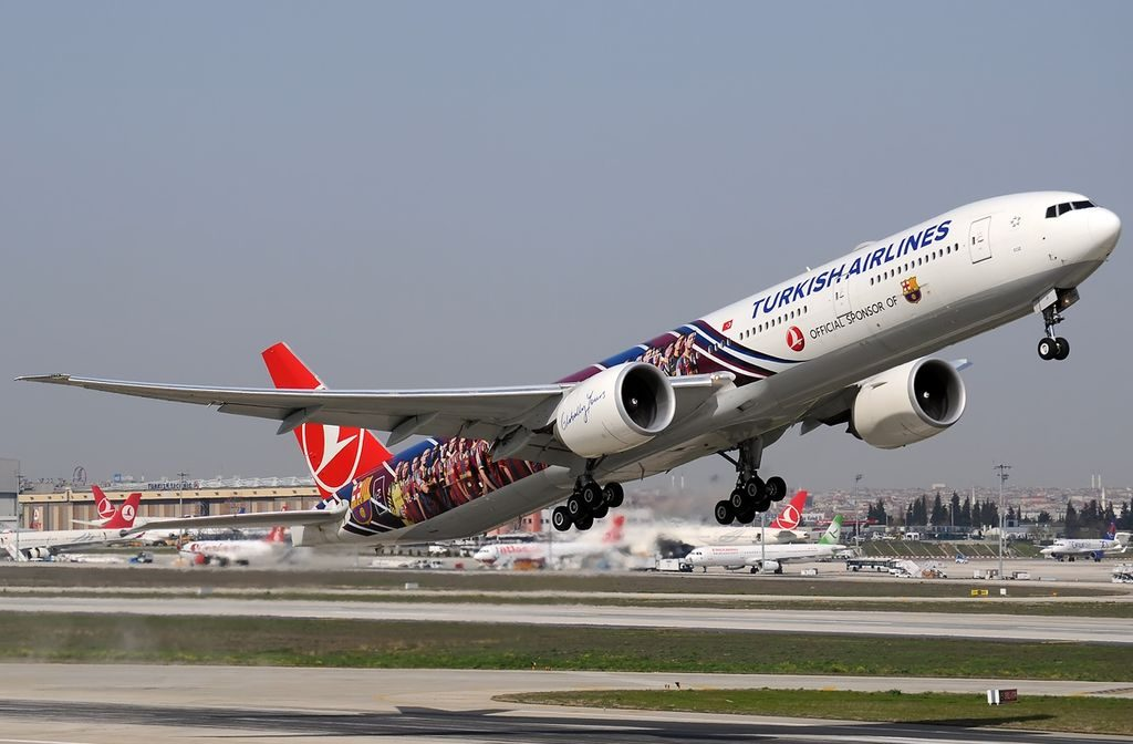 TC JJI Boeing 777 300ER Ege of Turkish Airlines FC Barcelona Livery at Istanbul Atatürk Airport