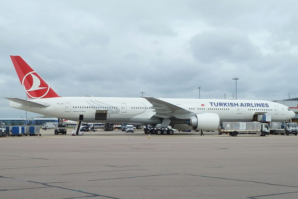 TC JJL Boeing 777 300ER Karadeniz of Turkish Airlines at London Heathrow Airport
