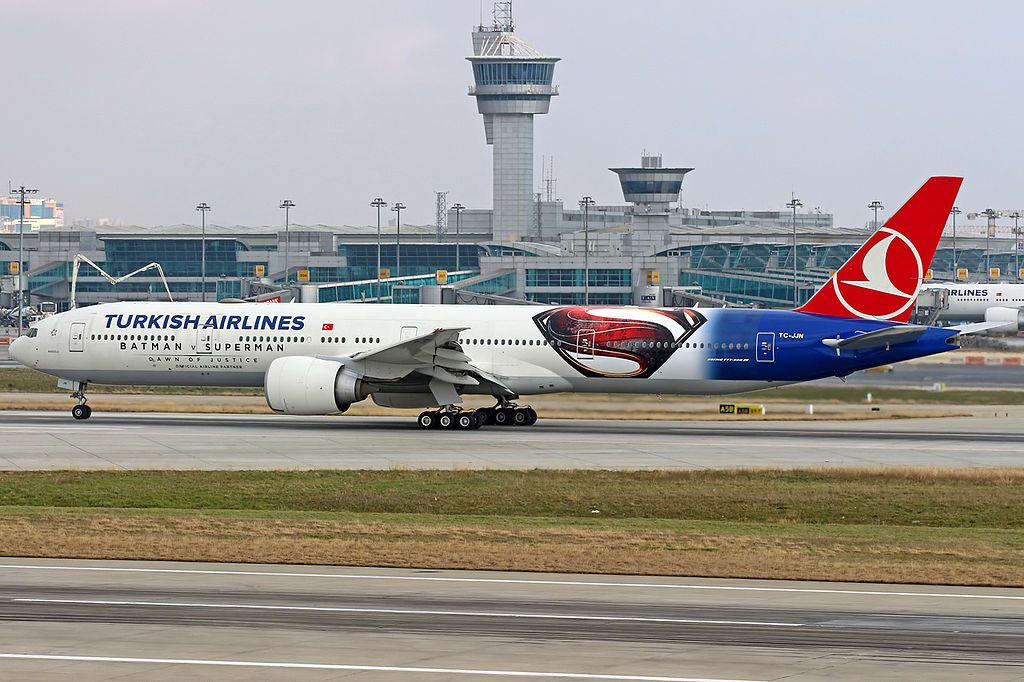 TC JJN Turkish Airlines Boeing 777 300ER Anadolu Batman v Superman logojet at Ataturk Airport