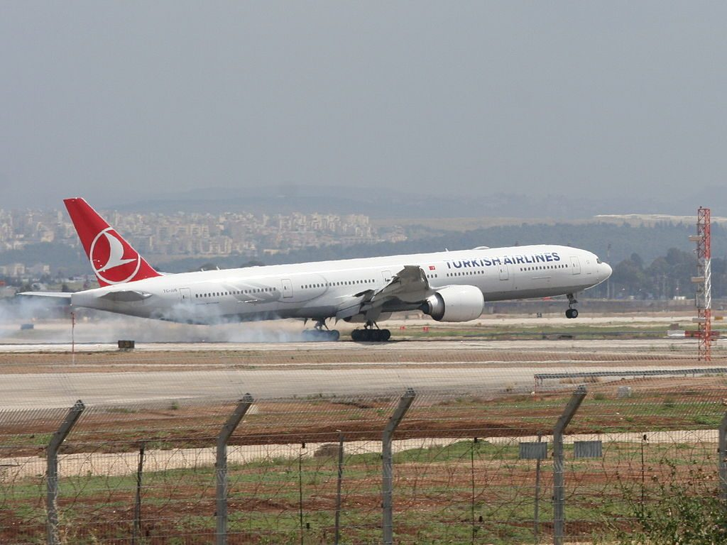 TC JJS Boeing 777 300ER Zigana of Turkish Airlines at Ben Gurion International Airport