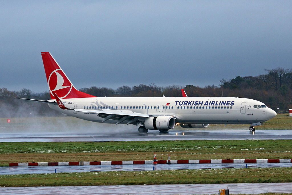 TC JYB Boeing 737 9F2ERW Denizli of Turkish Airlines at Manchester Airport