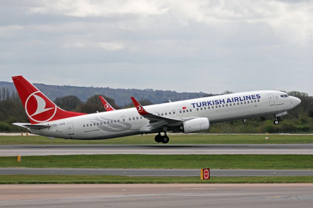 TC JYG Boeing 737 9F2ERW Ünye of Turkish Airlines at Manchester Airport
