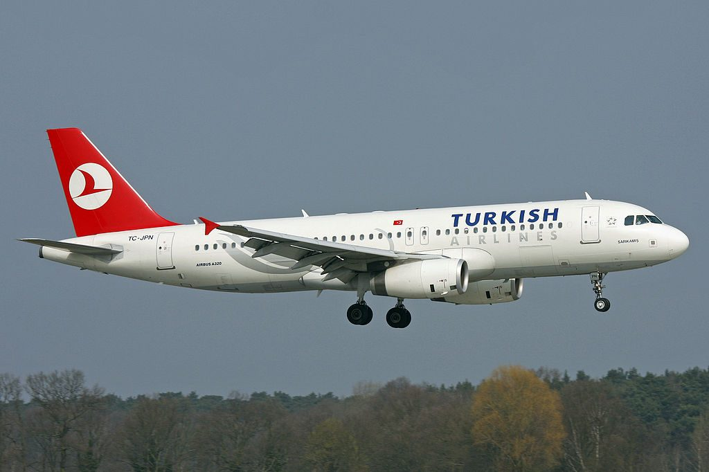 Turkish Airlines Airbus A320 200 TC JPN Mardin landing at Hannover Airport