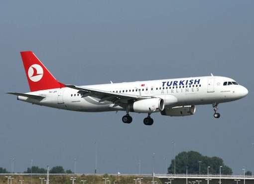 Turkish Airlines Airbus A320 232 TC JPI Doğubeyazıt landing at Amsterdam Schiphol