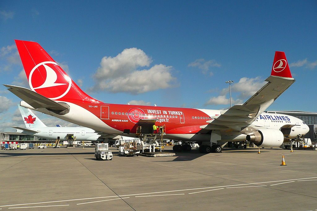 Turkish Airlines Invest in Turkey livery Airbus A330 223 TC JIZ Alacahöyük at London Heathrow Airport