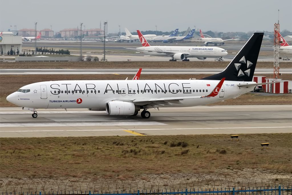 Turkish Airlines TC JHC Boeing 737 8F2WL İskenderun Star Alliance livery at Istanbul Atatürk Airport