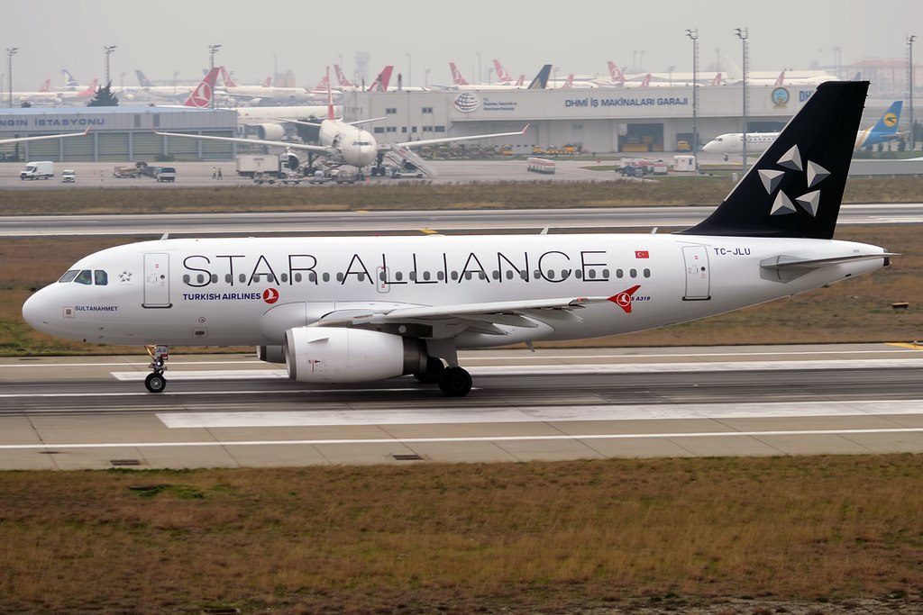 Turkish Airlines TC JLU Airbus A319 132 Sultanahmet on Star Alliance Livery at Istanbul Atatürk Airport