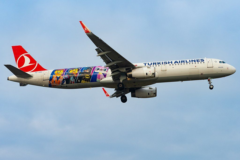 Turkish Airlines TC JSU Airbus A221 231 Kalecik The LEGO Movie 2 Livery at Geneva Airport