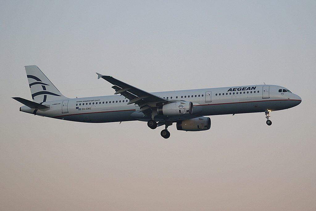 Aegean Airbus A321 231 SX DNG seen landing at Larnaca