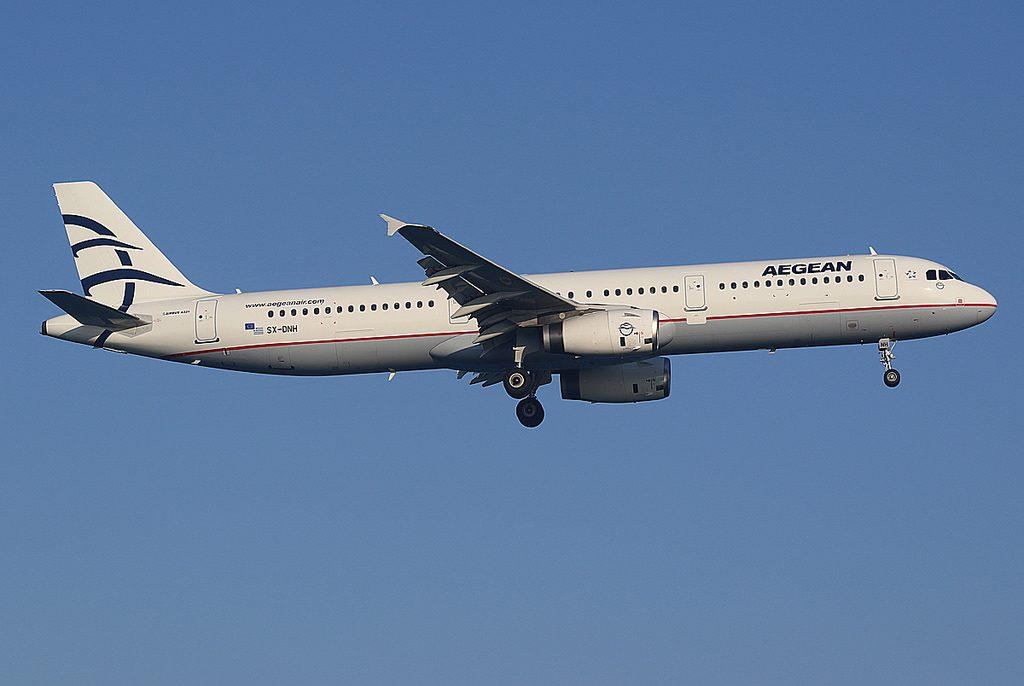 Aegean Airbus A321 231 SX DNH at Larnaca Airport