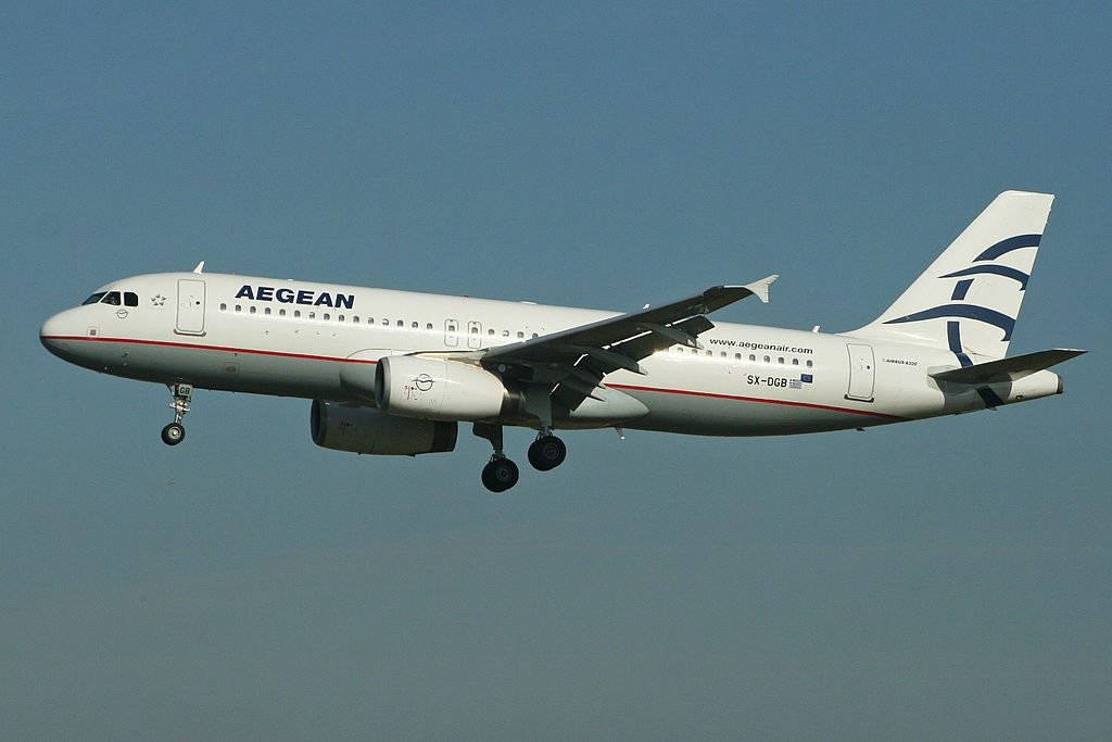 Aegean Airlines Airbus A320 232 SX DGB at London Heathrow Airport