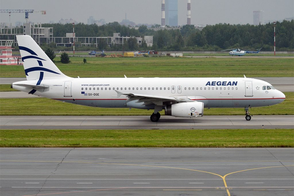Aegean Airlines SX DGE Airbus A320 232 at Pulkovo Airport