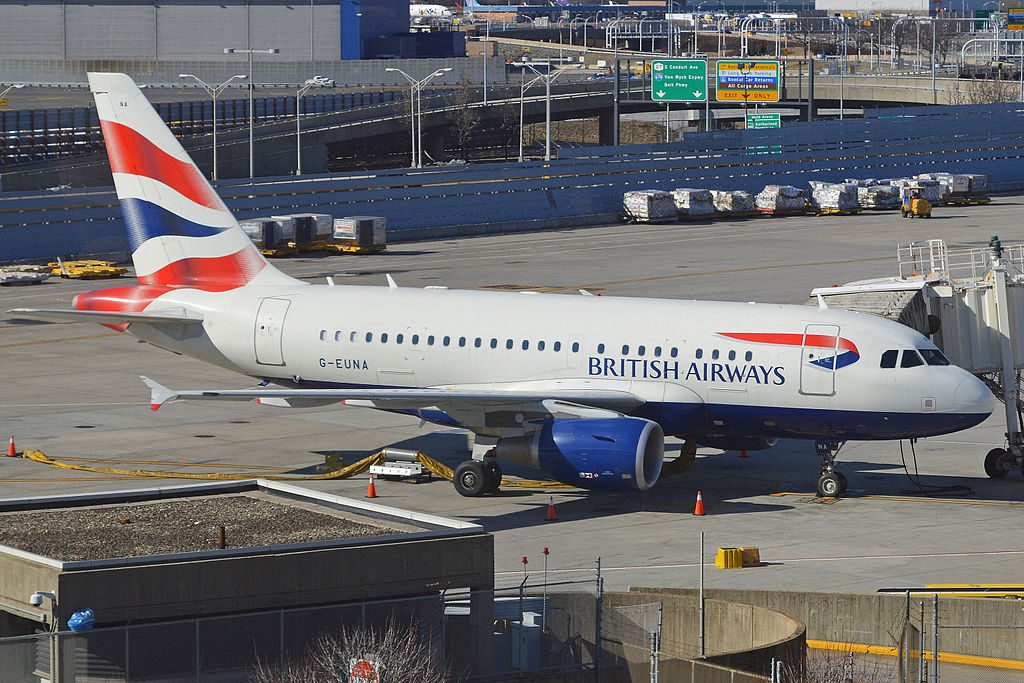 Airbus A318 112 G EUNA British Airways On stand at Terminal 7 JFK Airport New York