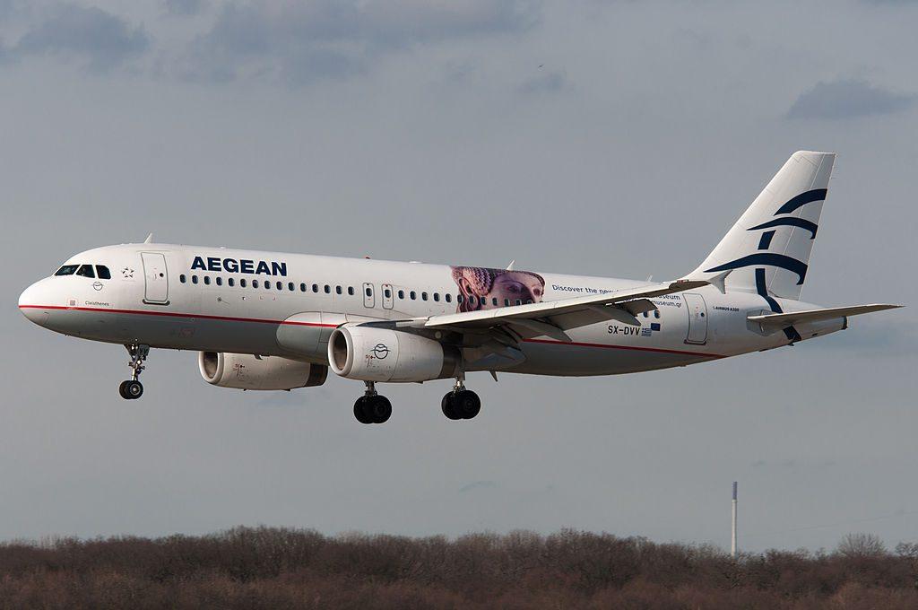 Airbus A320 232 Cleisthenes SX DVV Aegean Airlines Acropolis Museum cs at Düsseldorf Airport