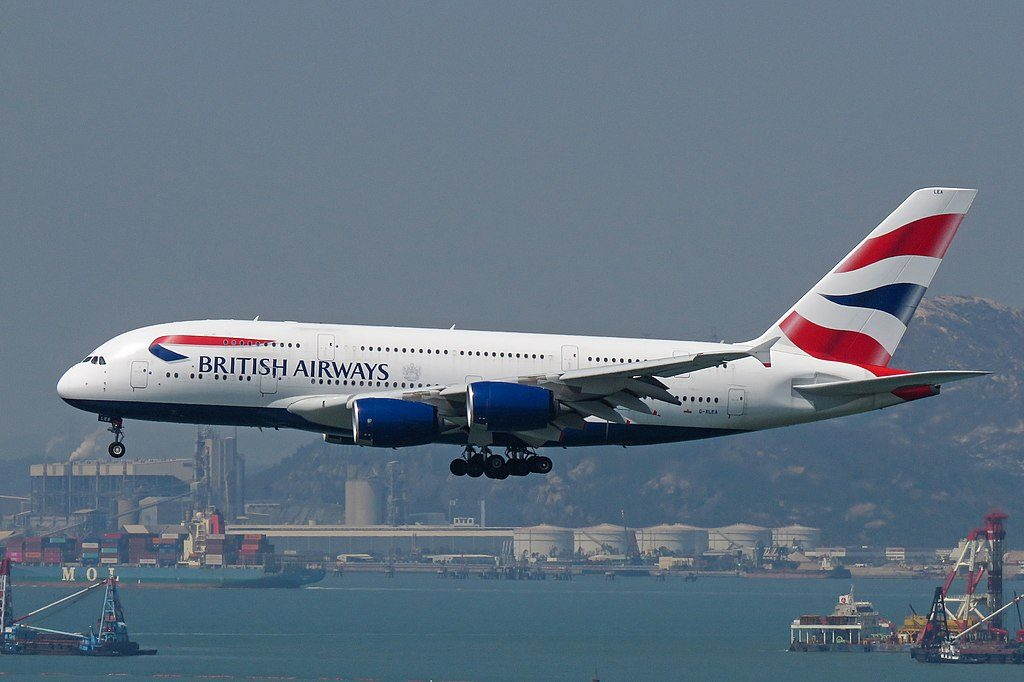 Airbus A380 of British Airways at Hong Kong International Airport