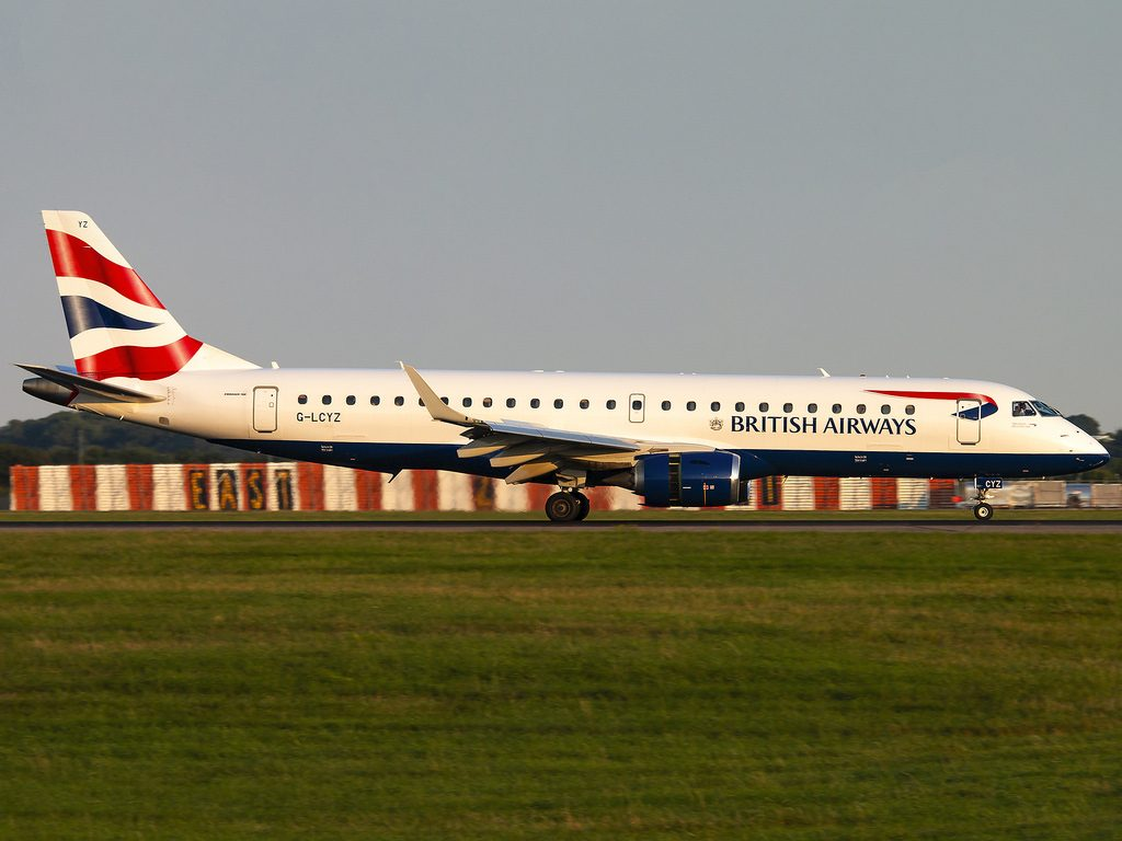 BA CityFlyer Embraer ERJ 190SR G LCYZ Landing on runway 22 at London Stansted Airport