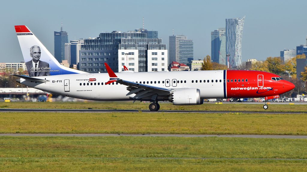 Boeing 737 MAX 8 Norwegian EI FYI Arthur Collins at Warsaw Airport