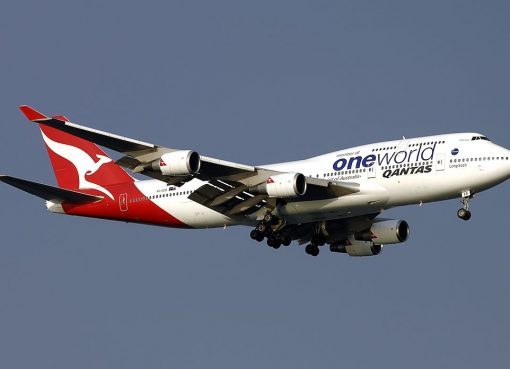 Boeing 747 48E Qantas VH OEB Phillip Island oneworld livery at Singapore Changi Airport