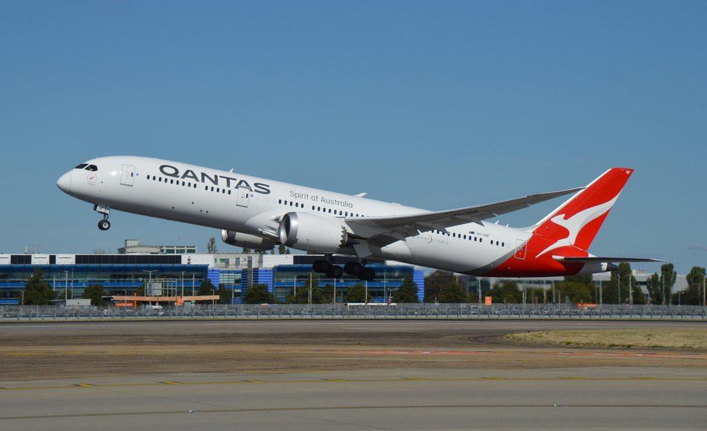Boeing 787 9 Dreamliner Qantas VH ZNF Boomerang at LHR Airport