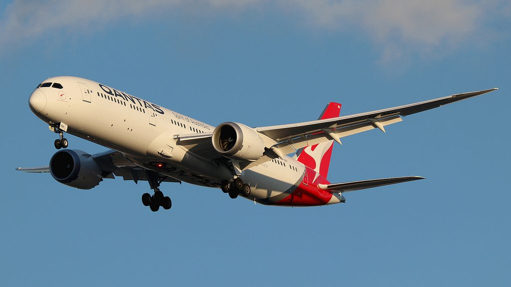 Boeing 787 9 Dreamliner Qantas VH ZNH Great Barrier Reef at New York JFK