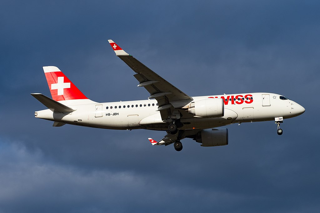 Bombardier CS100 Airbus A220 100 HB JBH SWISS at Geneva Airport