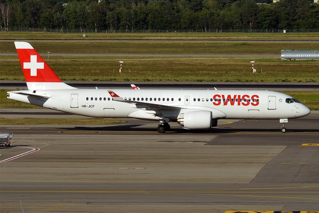 Bombardier CS300 SWISS HB JCF at Milan Malpensa Airport