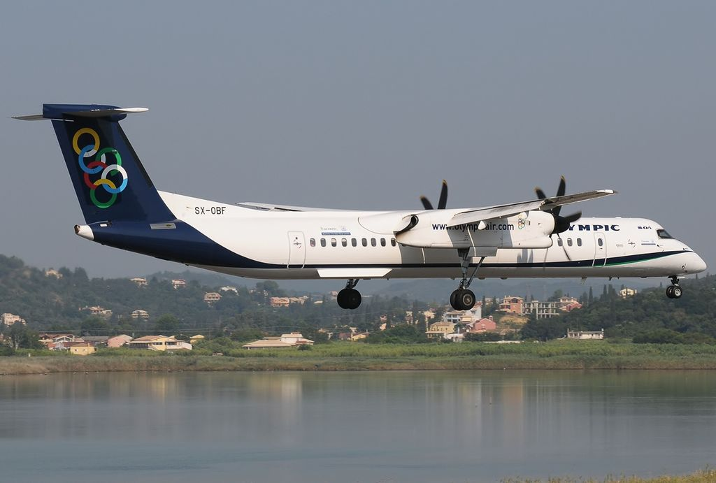 Bombardier Dash 8 Q402NextGen Olympic Air SX OBF at Corfu International Airport
