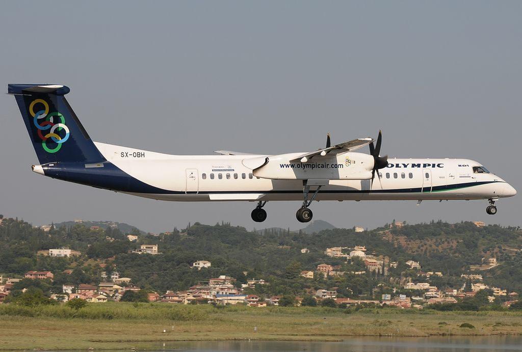 Bombardier Dash 8 Q402NextGen Olympic Air SX OBH at Corfu International Airport