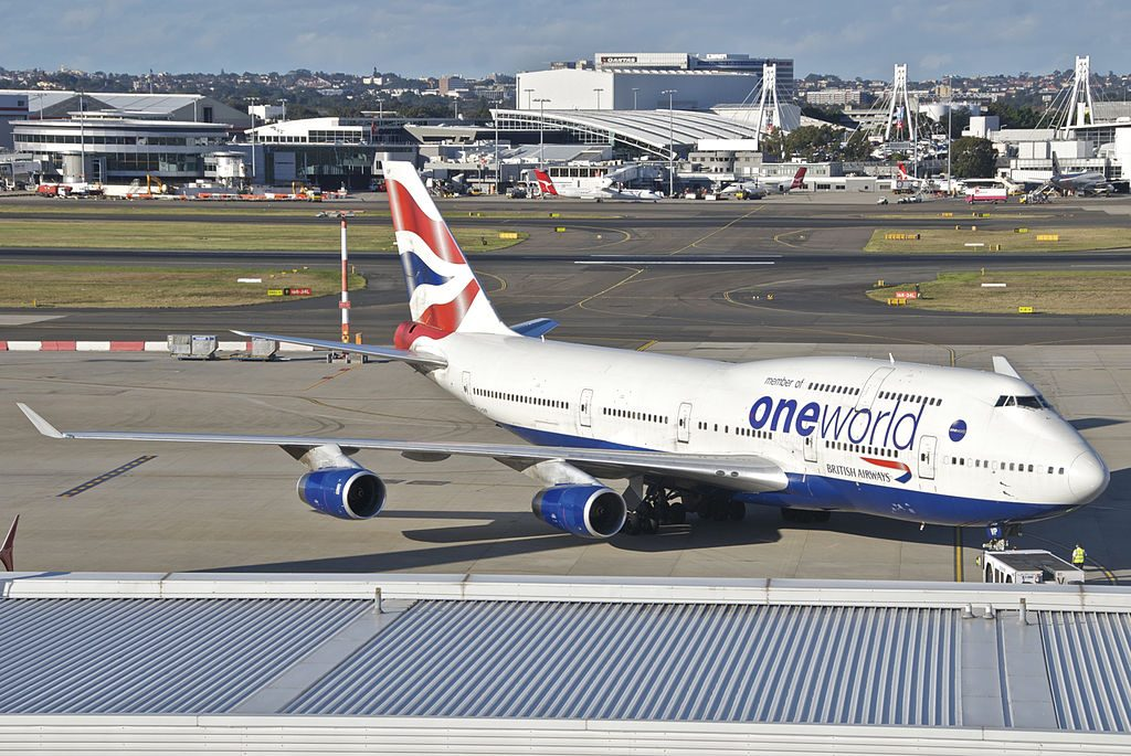 British Airways Boeing 747 400 G CIVP Oneworld livery at Sydney Airport SYD