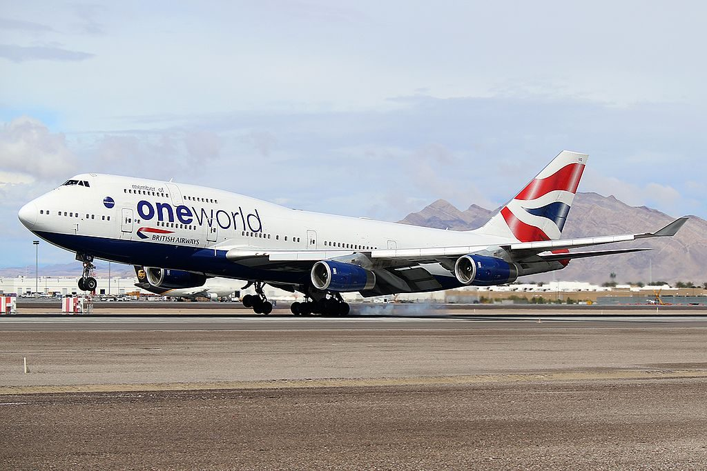 British Airways Boeing 747 436 G CIVD ONEWORLD Livery at KLAS McCarran International Airport