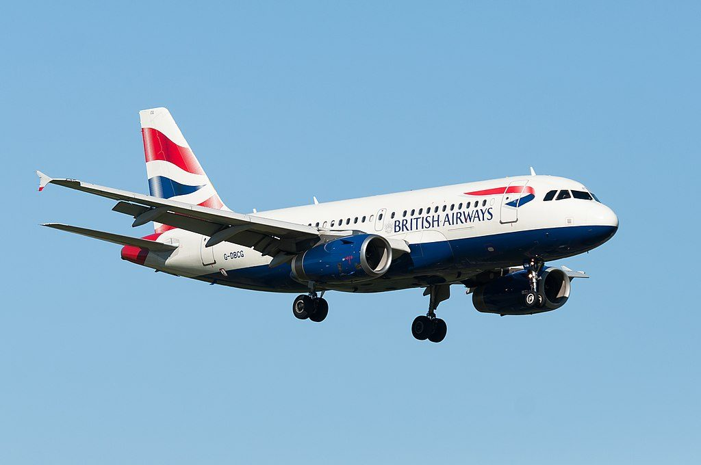 British Airways G DBCG Airbus A319 100 landing at Amsterdam Schiphol