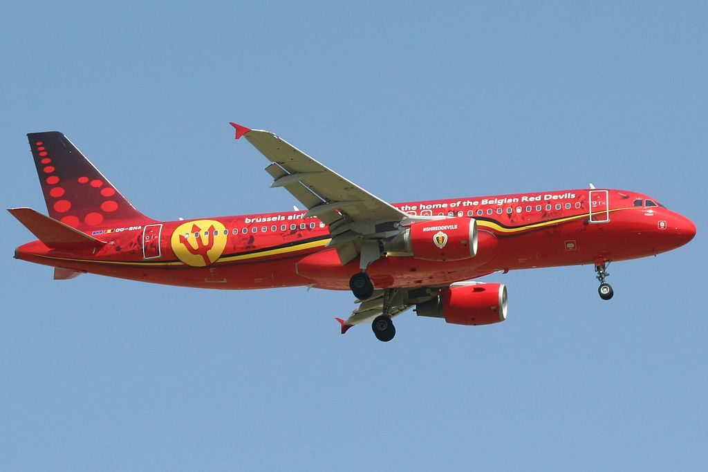 Brussels Airlines Airbus A320 214 Belgian Red Devils Livery OO SNA Trident landing at Ben Gurion International airport