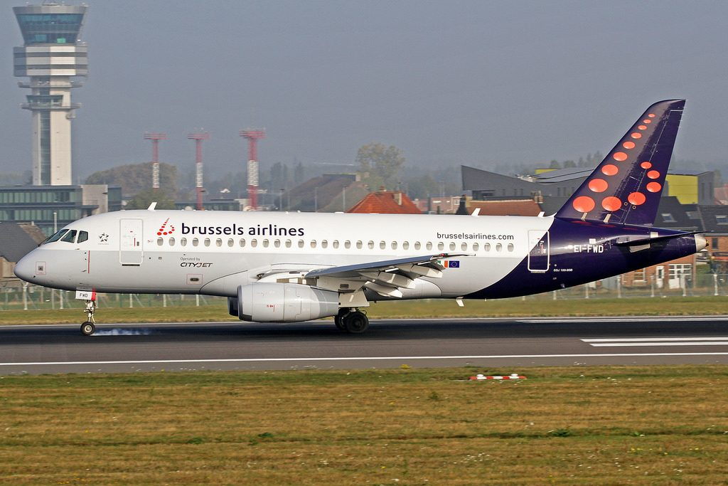 Brussels Airlines CityJet Sukhoi Superjet 100 95B EI FWD at BRU Airport