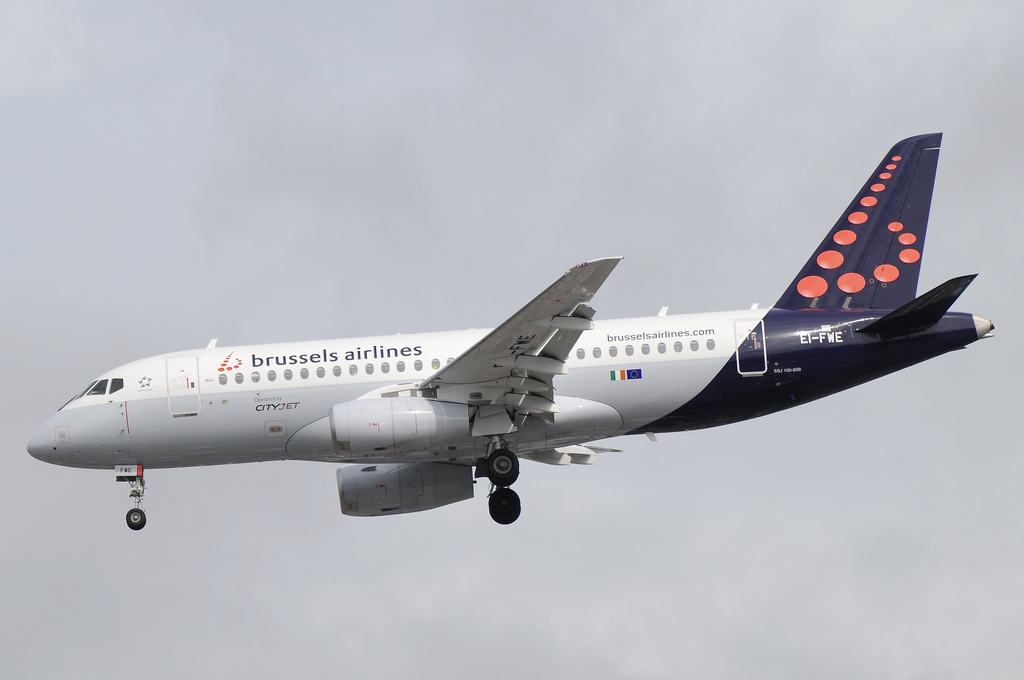 Brussels Airlines CityJet Sukhoi Superjet 100 95B EI FWE at Manchester Airport