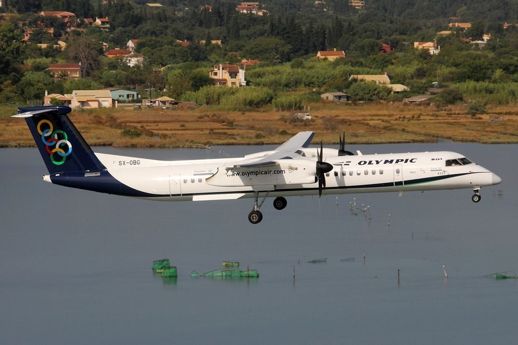 De Havilland Canada DHC 8 402Q Dash 8 Olympic Air SX OBG t Corfu International Airport