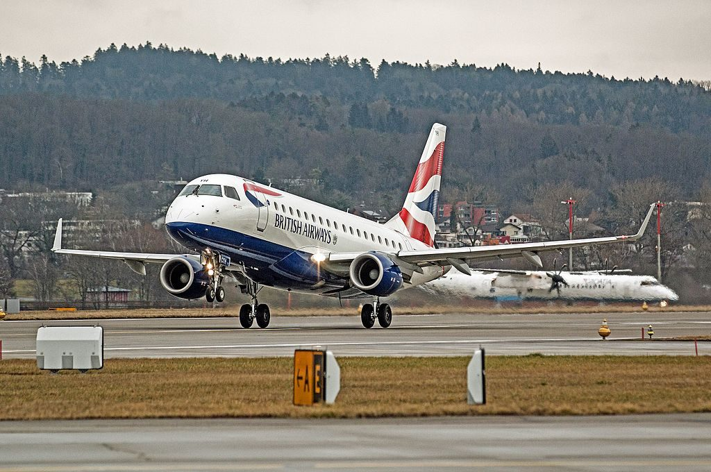 Embraer 170 of BA CityFlyer G LCYH at Zurich International Airport
