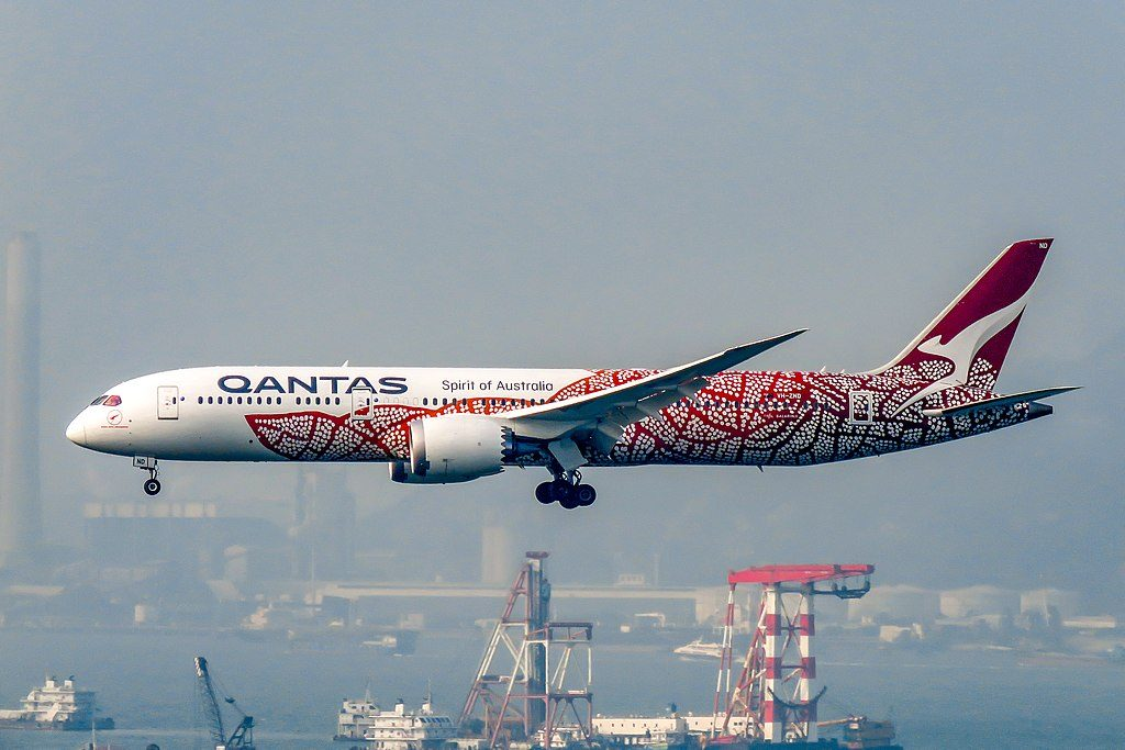 Emily Kame Kngwarreye VH ZND Boeing 787 9 Dreamliner of Qantas at Hong Kong International Airport
