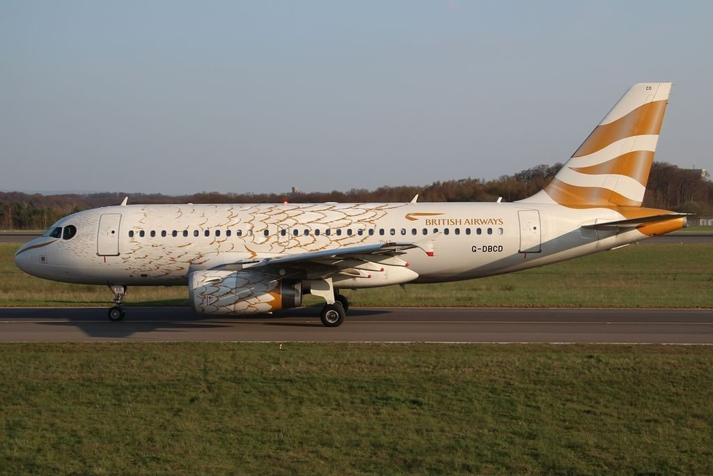 G DBCD Airbus A319 100 British Airways In The Olympic Dove Colours at Luxembourg Findel International Airport