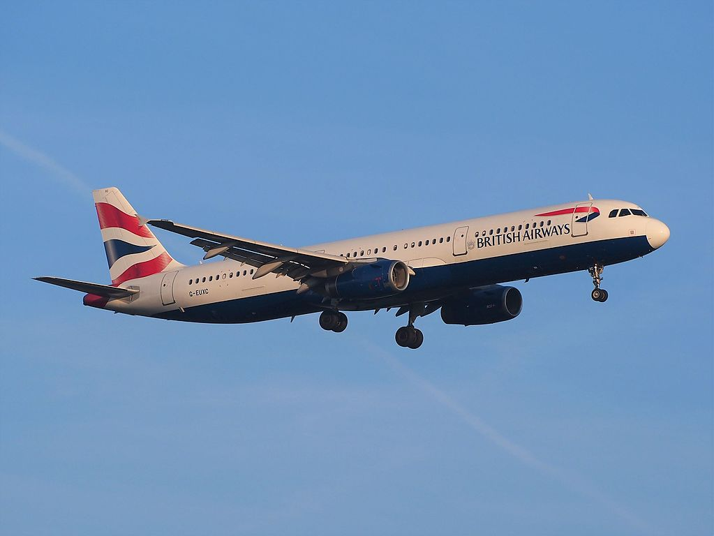 G EUXC British Airways Airbus A321 231 landing at runway 18R Schiphol