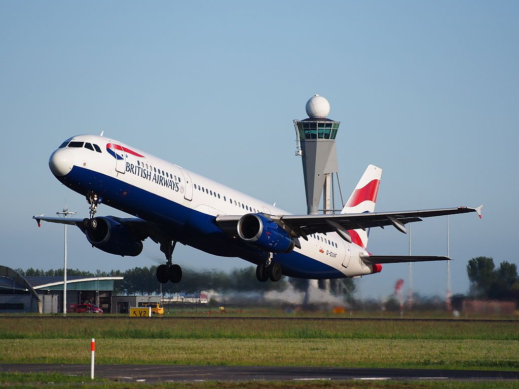 G EUXF British Airways Airbus A321 231 takeoff from Schiphol Amsterdam