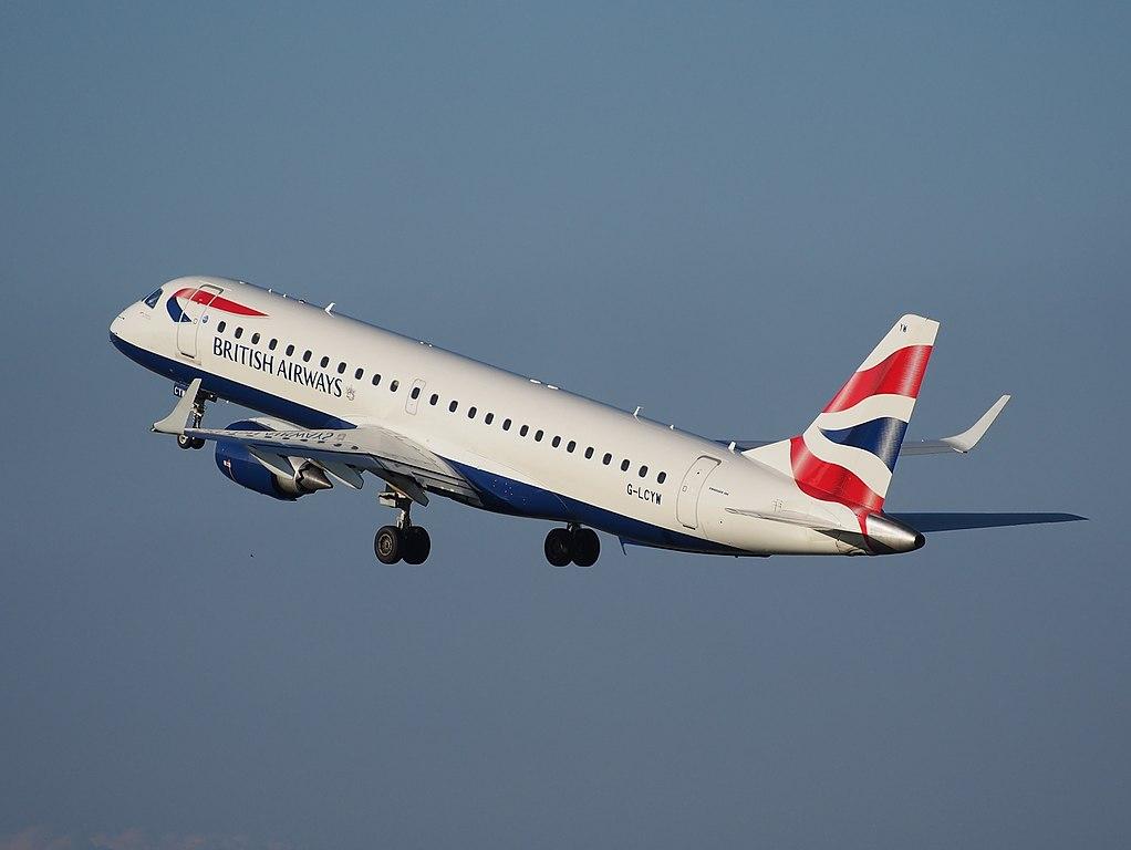 G LCYW BA CityFlyer Embraer ERJ 190SR ERJ 190 100 SR takeoff from Schiphol