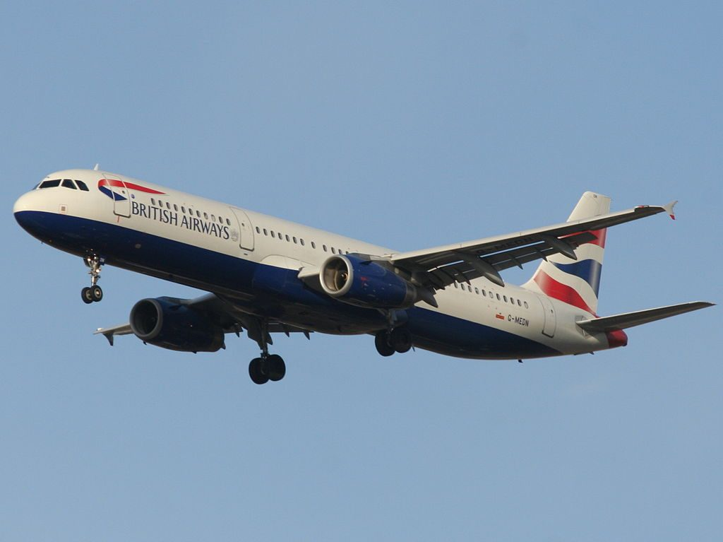 G MEDN Airbus A321 200 of British Airways Landing on runway 26 at Ben Gurion International Airport