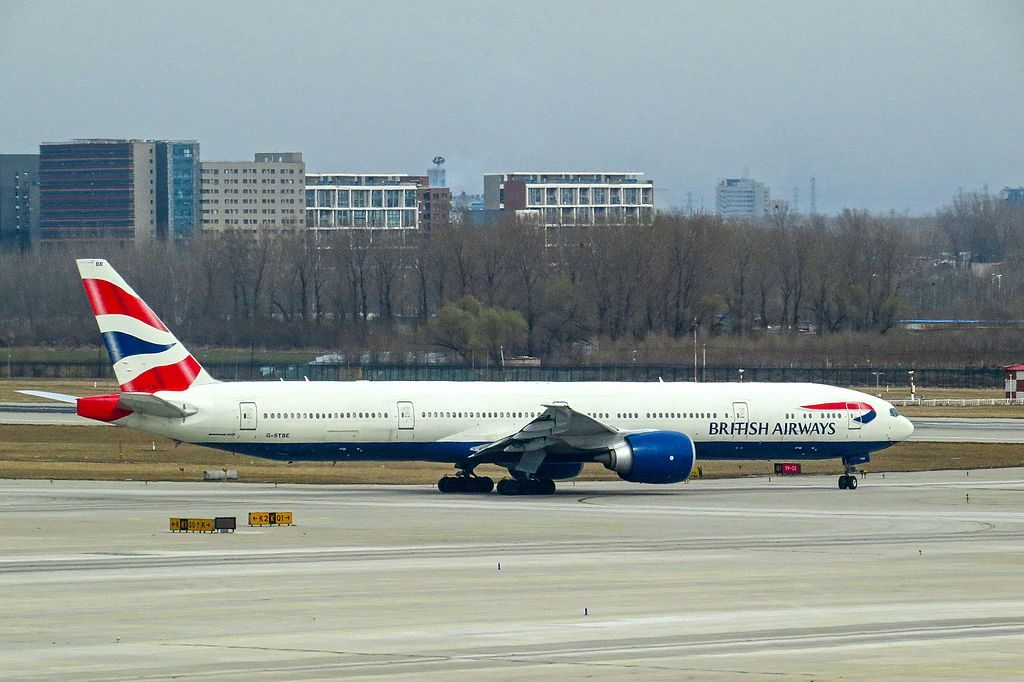 G STBE Boeing 777 300ER of British Airways at Beijing Capital International Airport