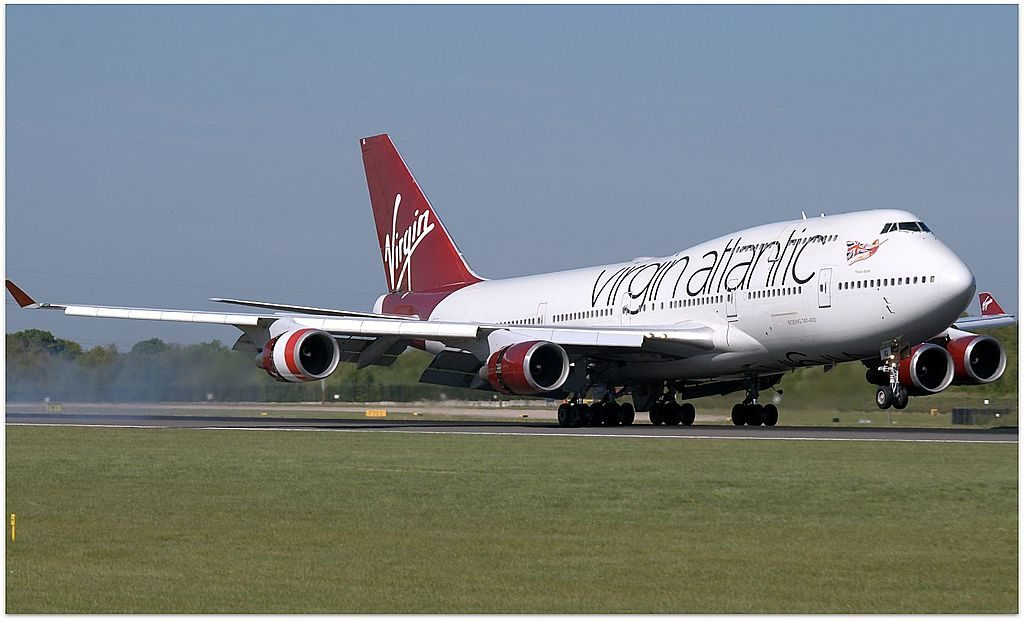 G VBIG Boeing 747 4Q8 Tinker Belle of Virgin Atlantic at Manchester Airport