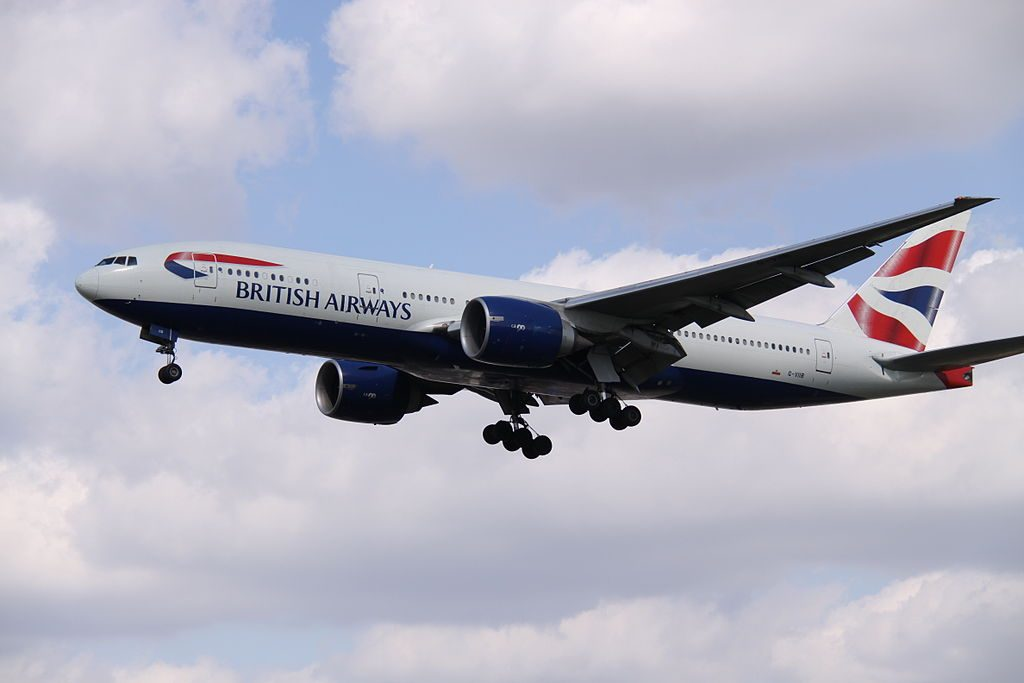 G VIIB Boeing 777 200ER of British Airways on final approach at London Heathrow Airport