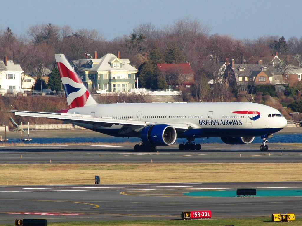 G VIIG Boeing 777 200ER of British Airways at Logan International Airport
