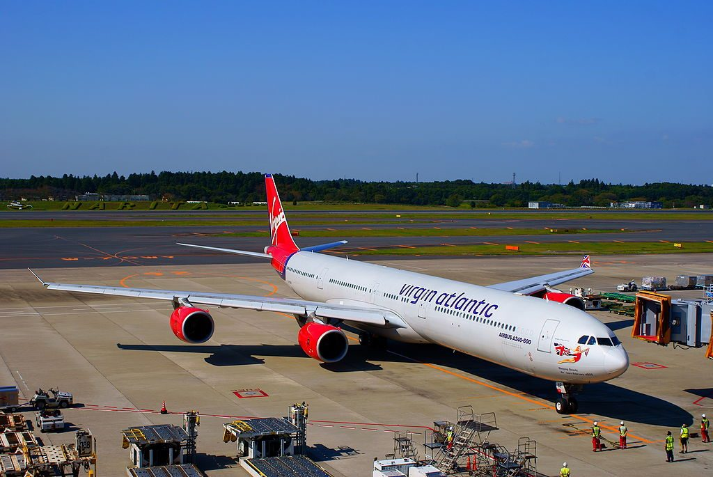 G VNAP Virgin Atlantic Airways Airbus A340 600 Sleeping Beauty Rejuvenated arrives at terminal 1 of Tokyo Narita Airport
