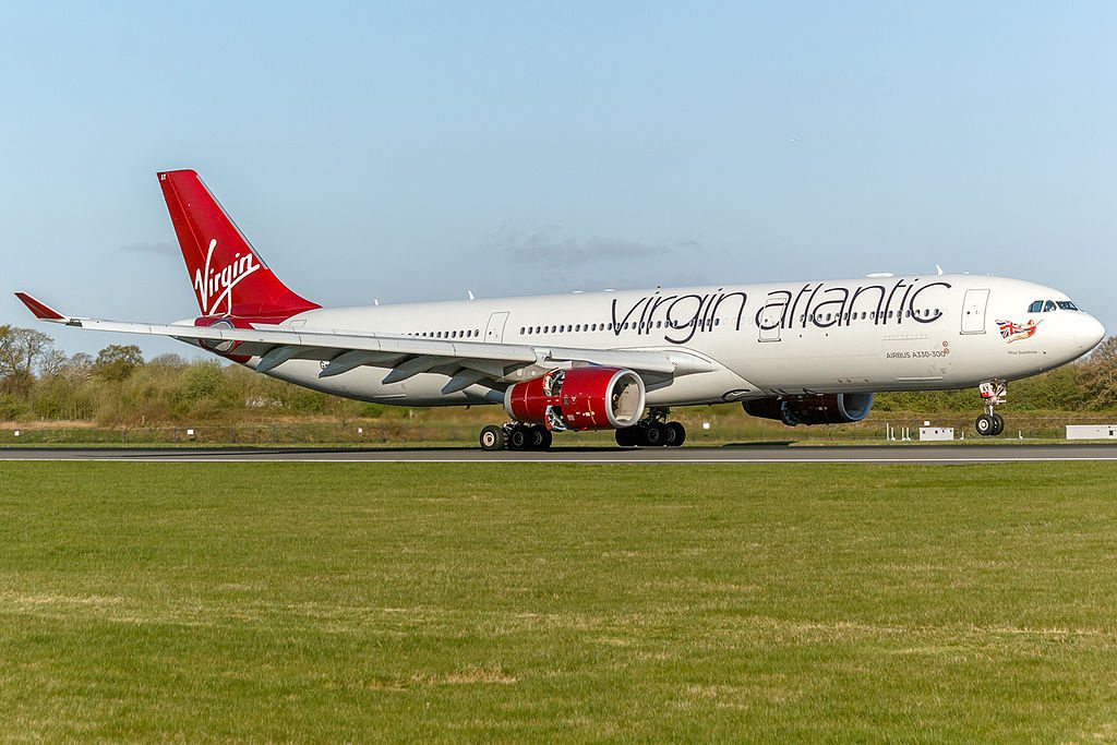 G VRAY Airbus A330 343 Miss Sunshine of Virgin Atlantic landing at Manchester Airport